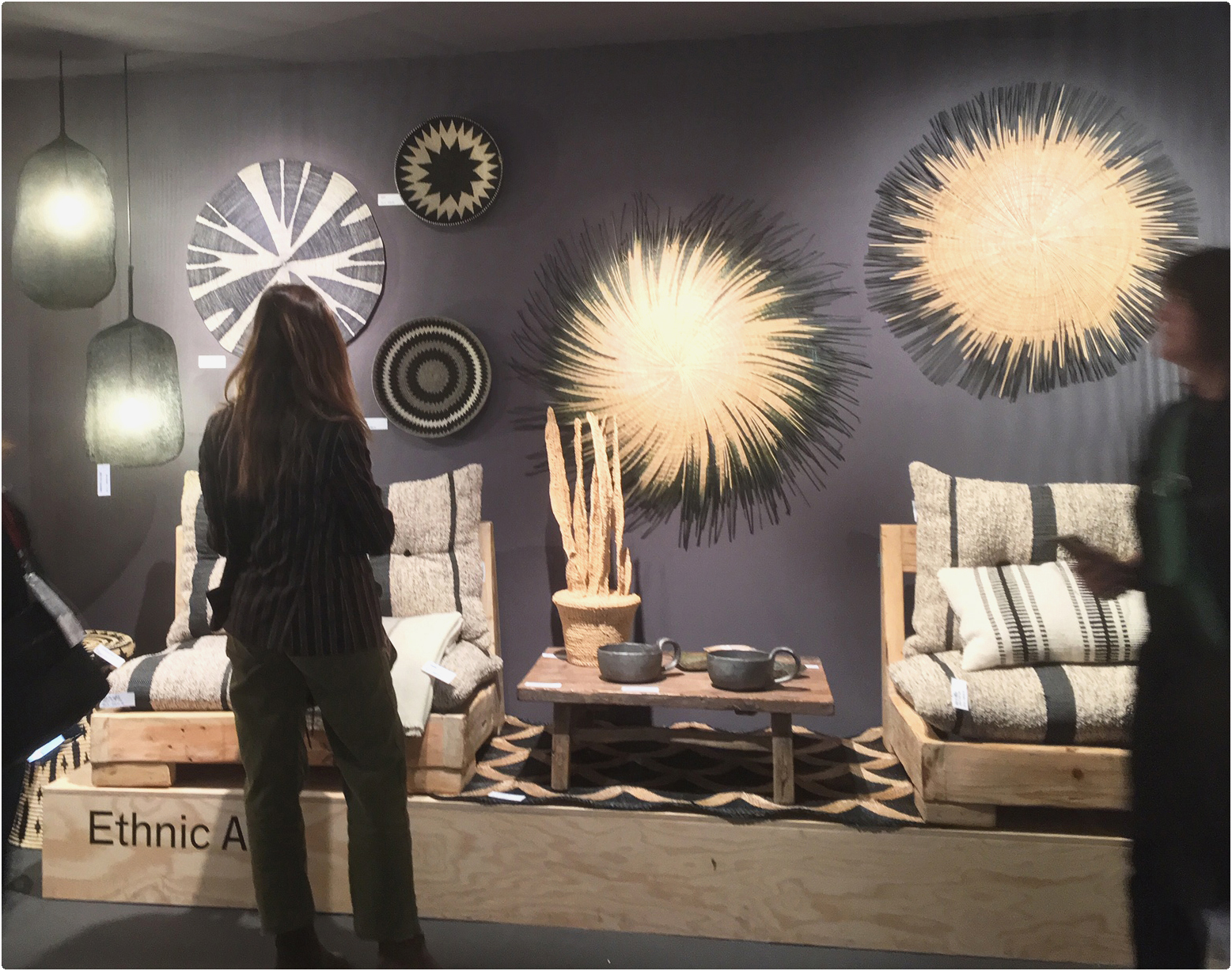 Elizabeth Leriche exhibition during Maison&Objet show, with a our sisal baskets and our stone bowls